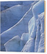 Detail Of Blue Ice On Exit Glaicer Wood Print