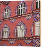 Detail Of Bright Facade Of The Cooperative Business Bank Buildin Wood Print