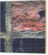 Detail Of Damaged Wall Tiles Wood Print