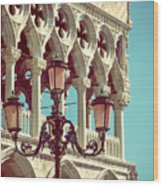 Detail Of Lamp And Columns In Venice. Vertically.  Wood Print