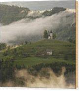 Detail Of Rolling Fog At Sunrise In The Skofjelosko Hribovje Hil Wood Print