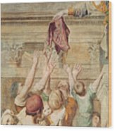Detail Of Saint Cecilia Distributing Alms Wood Print