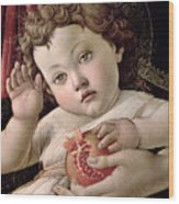 Detail Of The Christ Child From The Madonna Of The Pomegranate  Wood Print