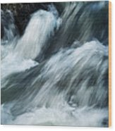 Detail Of Wild Rapid Water Wood Print