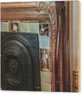 Detail Of Wood Carving And Tiles - Historic Fireplace Wood Print