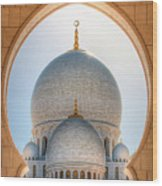 Detail View At Dome Of Sheikh Zayed Grand Mosque, Abu Dhabi, United Arab Emirates Wood Print