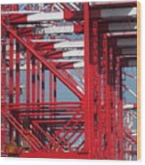 Detail View Of A Row Container Loading Cranes Wood Print