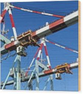 Detail View Of Container Loading Cranes Wood Print