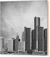 Detroit Black And White Skyline Wood Print