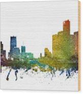 Detroit Cityscape 01 Wood Print