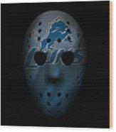 Detroit Lions War Mask 2 Wood Print