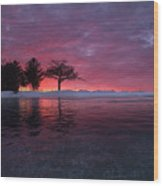 Detroit Point Sunset Off The Ice Wood Print