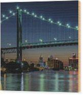 Detroit Riverside Sparkle Wood Print
