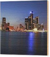 Detroit Skyline 1 Wood Print