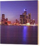 Detroit Skyline 2 Wood Print
