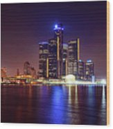 Detroit Skyline 4 Wood Print