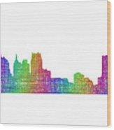 Detroit Skyline Wood Print