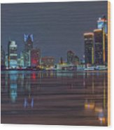 Detroit Skyline From Windsor In Hdr Wood Print