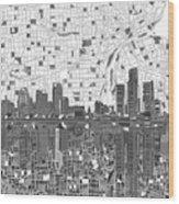 Detroit Skyline Map 5 Wood Print