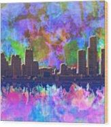 Detroit Skyline Watercolor 1 Wood Print