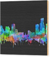 Detroit Skyline Watercolor 3 Wood Print