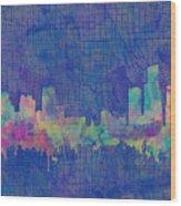 Detroit Skyline Watercolor Blue 3 Wood Print