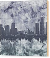 Detroit Skyline Watercolor Grunge Wood Print