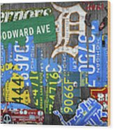 Detroit The Motor City Michigan License Plate Art Collage Wood Print