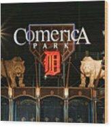 Detroit Tigers - Comerica Park Wood Print by Gordon Dean II