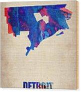Detroit Watercolor Map Wood Print
