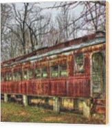 Devastation Railroad Passenger Train Car Fire Art Wood Print