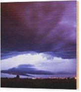 Developing Nebraska Night Shelf Cloud 001 Wood Print