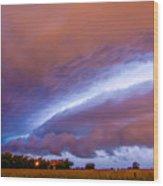 Developing Nebraska Night Shelf Cloud 006 Wood Print