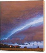 Developing Nebraska Night Shelf Cloud 007 Wood Print