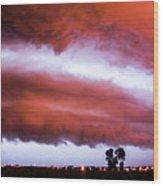 Developing Nebraska Night Shelf Cloud 009 Wood Print