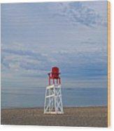 Devereux Beach Lifeguard Chair Info Board Marblehead Ma Wood Print