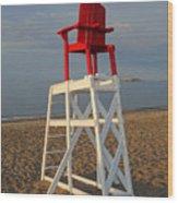 Devereux Beach Lifeguard Chair Marblehead Ma Wood Print