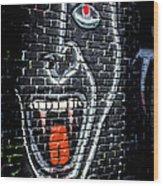 Devil Face Graffiti Wood Print
