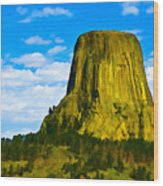 Devils Tower Wood Print