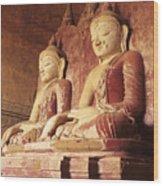 Dhammayangyi Temple Buddhas Wood Print