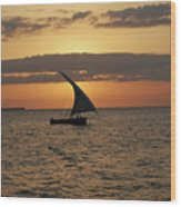 Dhow At Sunset Wood Print