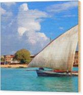 Dhow Off Zanzibar Wood Print