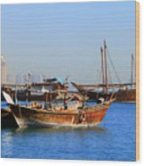 Dhows In Doha Bay Wood Print