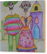 Dia De Los Muertos Mexican Couple Diego And Frida Wood Print