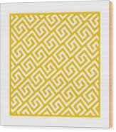 Diagonal Greek Key With Border In Mustard Wood Print