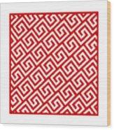 Diagonal Greek Key With Border In Red Wood Print