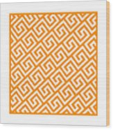 Diagonal Greek Key With Border In Tangerine Wood Print