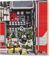 Dials And Hoses On Fire Truck Wood Print