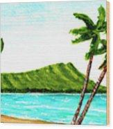 Diamond Head And Waikiki Beach #351 Wood Print