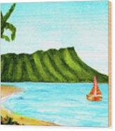 Diamond Head And Waikiki Beach Canoe #334 Wood Print